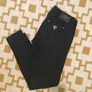 Guess Premium Skinny waxed black jeans